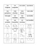 French Clothing Vocabulary Matching
