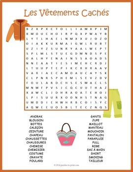 French Clothing Vocabulary Word Search: Les Vêtements