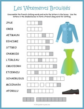 french clothing word scramble les v tements by puzzles to print. Black Bedroom Furniture Sets. Home Design Ideas
