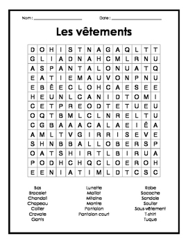 french clothing word search puzzle mots cach s fran ais sur les v tements. Black Bedroom Furniture Sets. Home Design Ideas