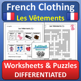French Clothing Worksheets (Les Vetements)