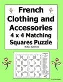 French Clothing and Accessories 4 x 4 Matching Squares Puzzle