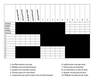 French Clothing and Adjective Puzzle Activity