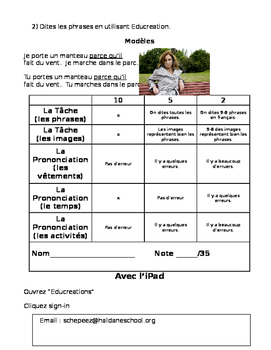 French Clothing and Weather Project- speaking and writing!
