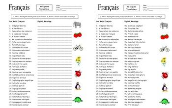 French Cognates 30 Spanish to English Translations