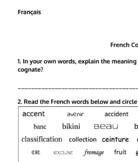 French Cognates Worksheet