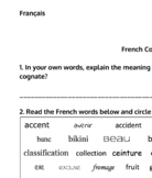 French Cognates Worksheet