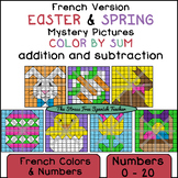 French Color By Mystery Pictures! Easter and Spring, Addition and Subtraction