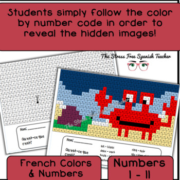 French Color By Number / Grid, Summer Mystery Pictures!