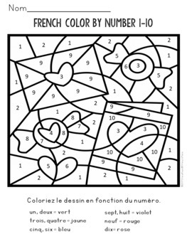French Color By Number (1-100)
