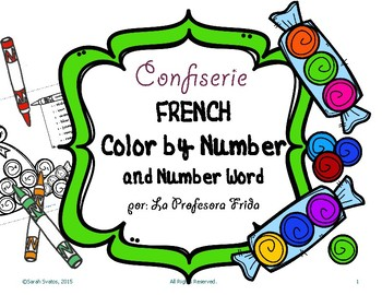 French Color By Number and Color By Number WORD, Sweet Shop!