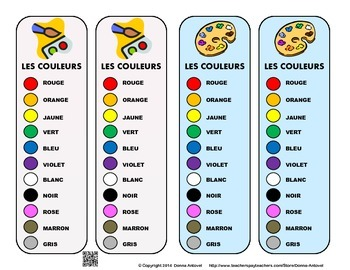 French Color Vocabulary Bookmarks