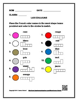 French Color Vocabulary Box Activity