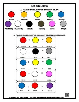 French Color Vocabulary Worksheet