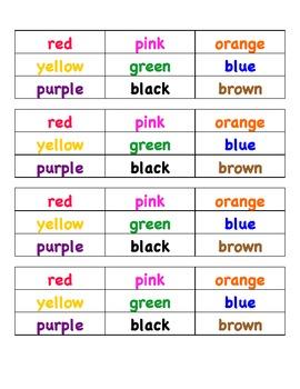 French Color Word Bingo