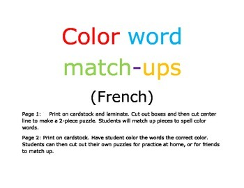 French Color Words Match-ups Puzzle