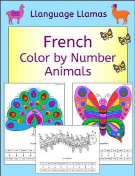 French Color by Number Animal Pictures