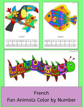 French Color by Number Animal Pictures - les animaux