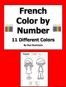 French Color by Numbers Kids Coloring Activity With 11 Dif