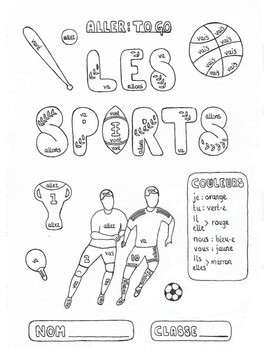 Color by conjugation French ALLER (to go) Les Sports no prep practice