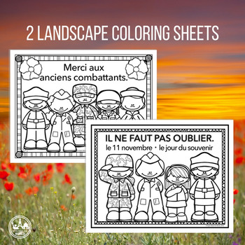 French Remembrance / Veterans Day Coloring & Writing Mini Pack