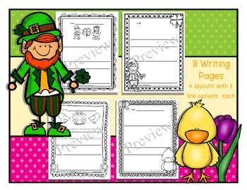 French Coloring & Writing for March: St. Patrick's Day & Spring themes