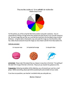 French Colors Activity