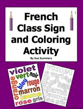 French Colors Class Sign and Coloring Activity