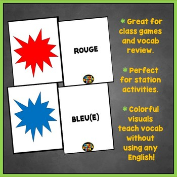 French Colors Flashcards, Les couleurs Flashcards, Games