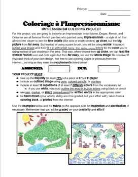 French Colors - Impressionism Coloring Project