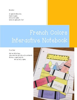 French Colors Interactive Notebook