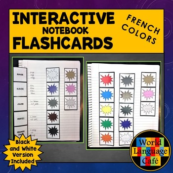 French Colors Flashcards, Interactive Notebook Flashcards, Les Couleurs