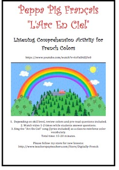 French Colors Listening Comprehension Activity