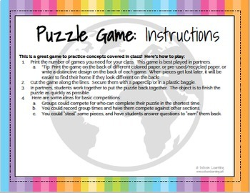 Printable Colors Puzzle Game - French