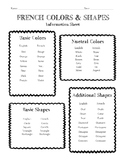 French Colors & Shapes Information Sheet, Worksheet And Answer Key