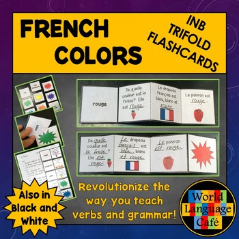 French Colors Interactive Notebook Trifold Flashcards, Les Couleurs