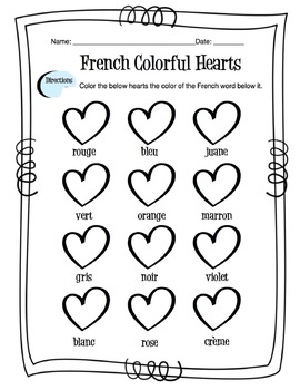 French Colors Worksheet By Sunny Side Up Resources