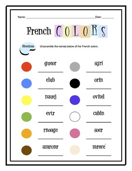 French Colors Worksheet Packet