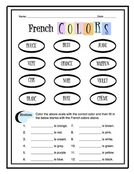 french colors worksheet packet by sunny side up resources tpt. Black Bedroom Furniture Sets. Home Design Ideas
