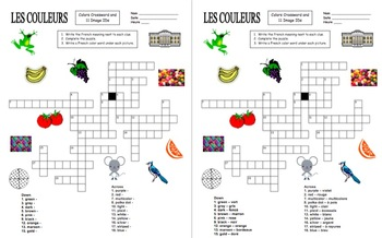 French Colors and Patterns Crossword Puzzle and Vocabulary - Les Couleurs