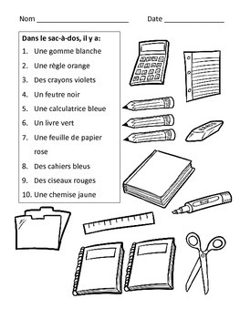 French Colors with School Vocabulary Worksheets by