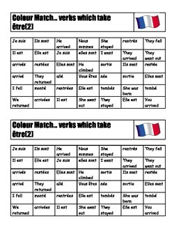FRENCH - COLOUR MATCH - Verbs which take être (2)