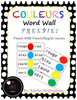 French Colour Word Wall: Les Couleurs