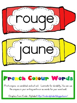 French Colour (color) Words {crayon design}