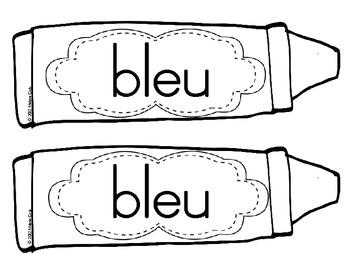French Colour (color) Words / les couleurs (b&w)