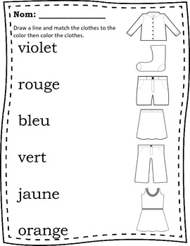 French Colors Matching Memory Game Worksheet
