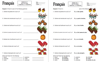 French Combien with Numbers and Autumn Items Worksheet - L'Automne