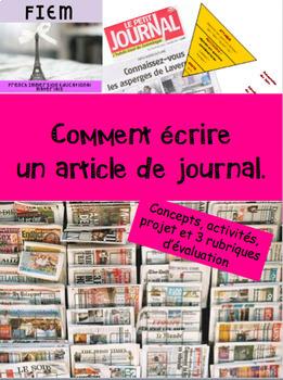 French: Comment écrire un article de journal, concepts, activités, 3 rubriques
