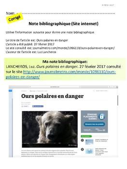 French: Comment écrire une bibliographie, concepts/activités/rubriques