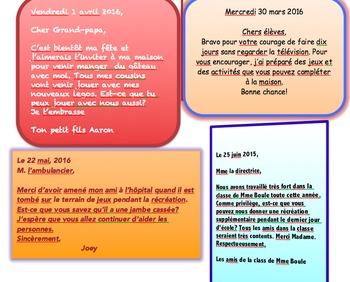 French: Comment écrire une lettre, Unité de langage, French Immersion Primaire